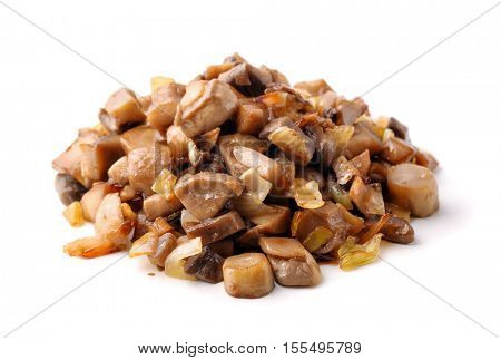Pile of roasted mushrooms isolated on white