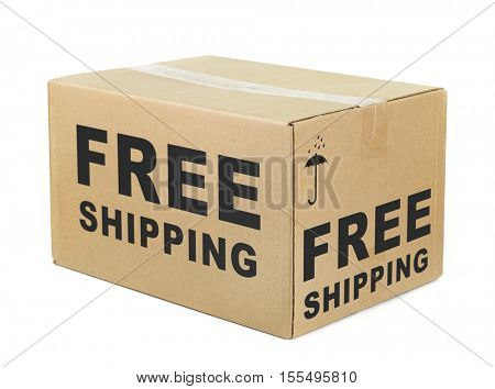 Free shipping cardboard box isolated on white