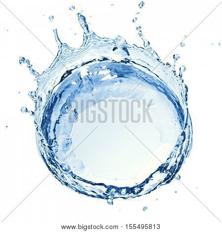 water splash with ripple from top view isolated on white