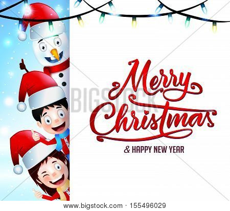 Christmas Greetings on Isolated Background with Happy Kids and Snowman at the Back