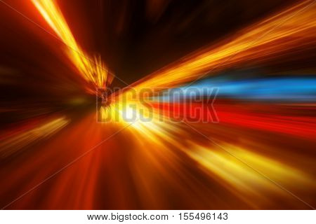 Zoom effect colorful abstract blur background as time travel and speed of light concept