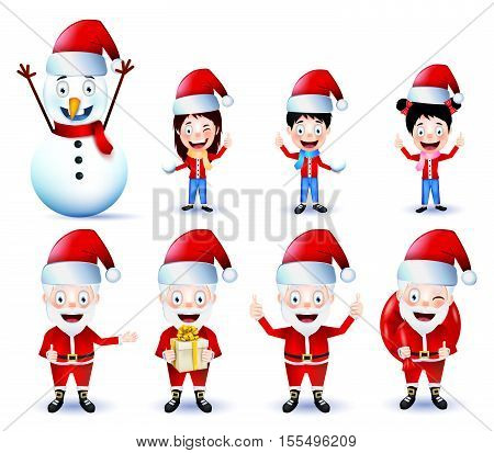 Chirstmas Animated Characters Vector Pack on Isolated Background