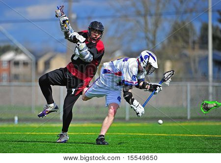 Boys Lacrosse the knock down