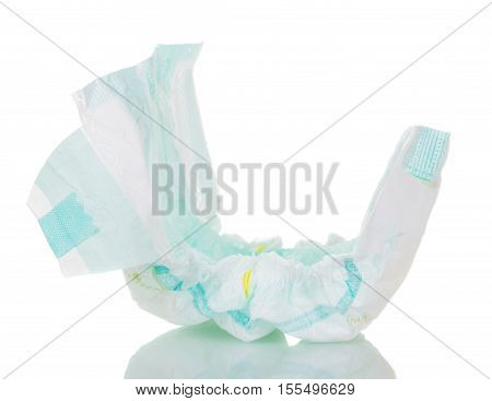 Disposable diaper closeup isolated on white background.