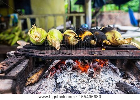 Grilled or Barbecue Corns Sold in Roadside Stall in Borneo