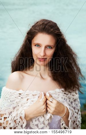 woman near river. outdoor shot