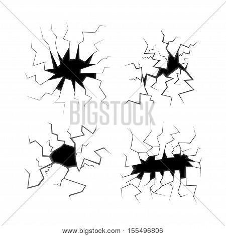 Black Hole in the Wall and Cracks Set. Vector illustration