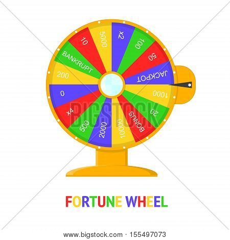 Color Wheel Of Fortune. Flat Design Style. Winner Game Vector illustration