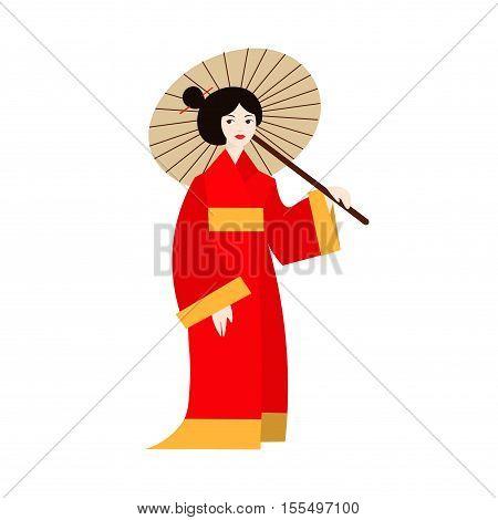 Japanese Geisha Woman in Kimono. Flat Design Style. Traditional Fashion Culture Vector illustration