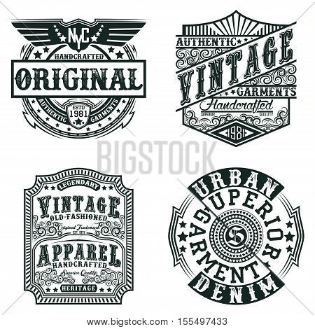 Set of Vintage typography, t-shirt graphics, apparel stamps, tee print designs, vector