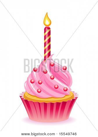 Happy birthday cupcake Vector poster