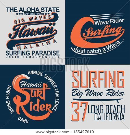 Set of Surfing t-shirt graphic design, vintage surfing print stamp, surfers wear typography emblem, Creative design, Vector