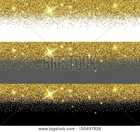 Vector gold glitter card templates. Banners with golden glitter dust. Illustration of shimmer pattern card sample