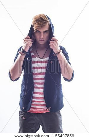 Full length portrait of a stylish casual young man