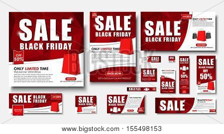 Set Of Web Banner For Black Friday Sales, Standard Sizes