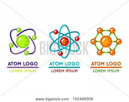 Atom logo set in flat style. Microscopic nuclear particle. Vector illustration