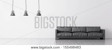Interior Of Room With Sofa And Lamps Panorama 3D Rendering