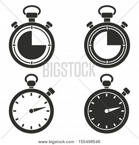 Stopwatch vector icons set. Black illustration isolated on white background for graphic and web design.