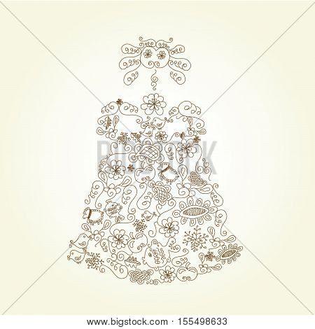 Vector doll  on beige background - illustration