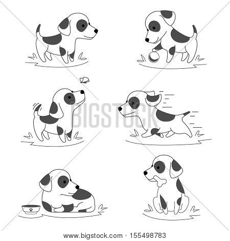 Cute puppy dog doodle vector. Pets running and actively playing illustration