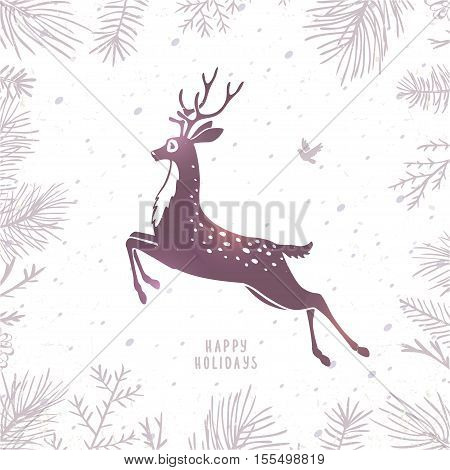 Beautiful silhouette stylized deer in jumping. Cartoon fairy deer. Amazing winter holiday card. Vector illustration