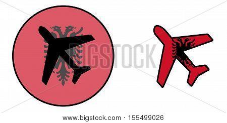 Nation Flag - Airplane Isolated - Albania