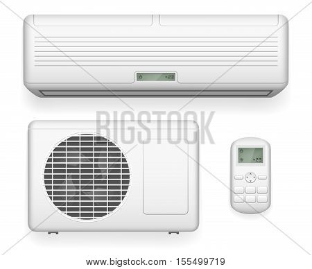 Split system air conditioner. Cool and cold climate control system. Realistic conditioning with remote controller. Vector illustration