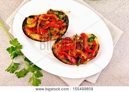 Bruschetta With Vegetables In Plate On Table Top