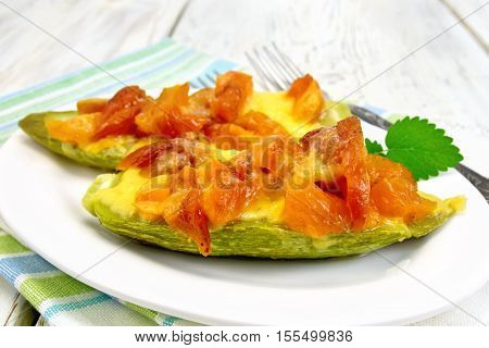 Courgettes In Spicy Sauce With Dried Apricots On Towel