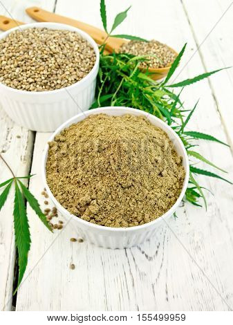 Flour Hemp And Grain In Bowls On Board
