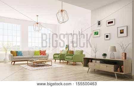 Modern interior of living room with sofa armchairs scandinavian style 3d rendering