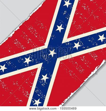 Confederate grunge flag diagonal background. Vector illustration.