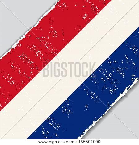 Dutch grunge flag diagonal background. Vector illustration.