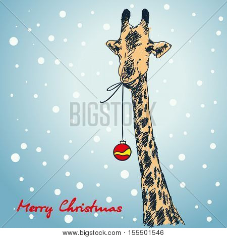 Christmas card hand drawn giraffe with xmas ball hanging from his mouth