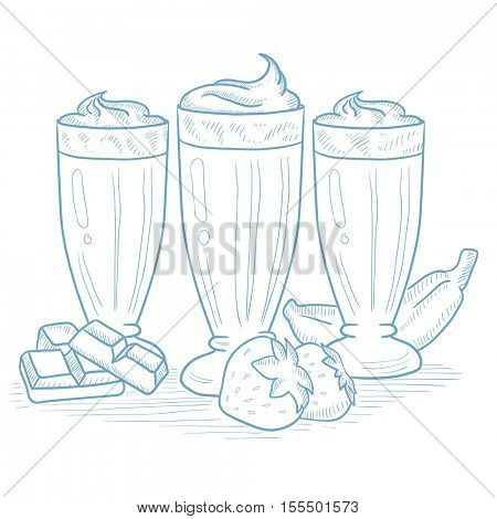 Banana, strawberry and chocolate smoothies. Banana, strawberry and chocolate smoothies hand drawn on white background. Smoothies in glasses vector illustration. Smoothies sketch illustration.
