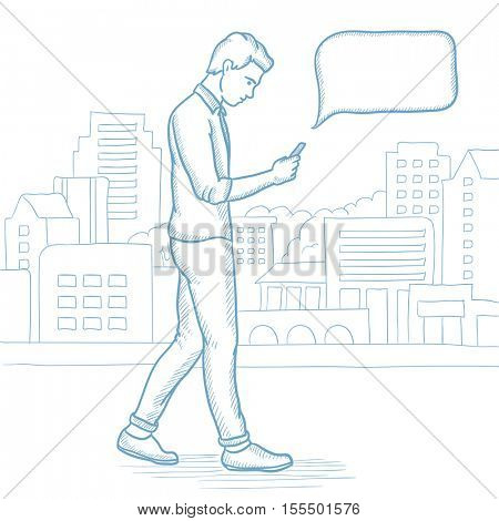 Caucasian man walking with smartphone in the city. Concentrated man using smartphone on a city background. Young man chatting on mobile phone. Hand drawn vector sketch illustration on white background