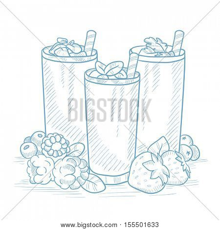 Various fresh berries smoothies in glasses with straw. Smoothies hand drawn on white background. Smoothies in glasses vector illustration. Fresh berries smoothies in glasses sketch illustration.