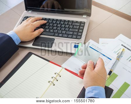 Business Concept Of Office Working, Businessman Using Credit Card