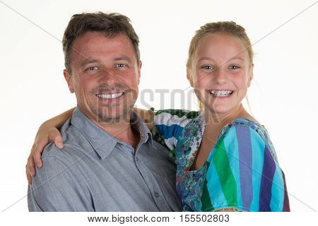 Portrait Of A Father And Daughter Happy Together Isolated