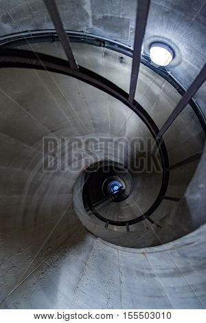Spiral staircase leading down to the crypt of the Pantheon, Paris, France