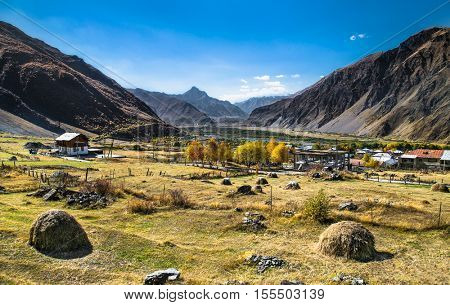 Panoramic view on valey of Kazbegi (Stepantsminda) village, Georgia,  Europe.