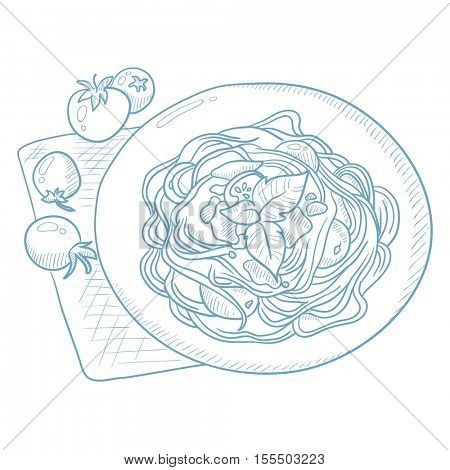 Spaghetti with basil and tomatoes on plate on napkin. Spaghetti with basil and tomatoes hand drawn on white background. Spaghetti on plate on napkin vector illustration. Spaghetti sketch illustration.