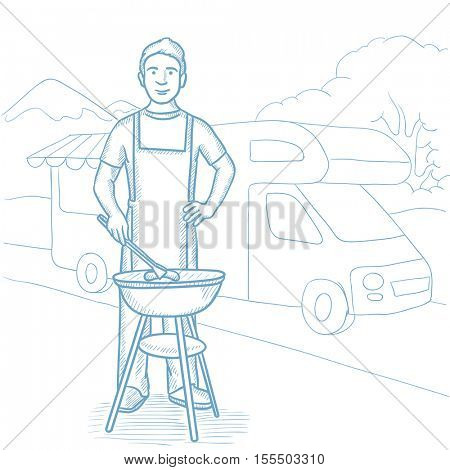 Man preparing barbecue on background of motorhome in the forest. Man cooking meat on barbecue grill outdoor. Man having outdoor barbecue. Hand drawn vector sketch illustration on white background.