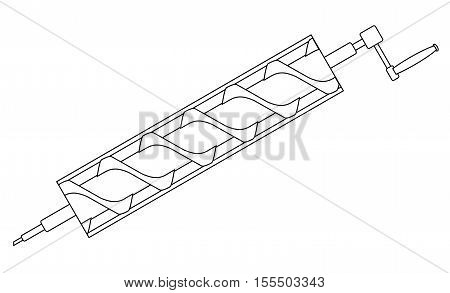 A typical Archimedes screw water pump over a white background