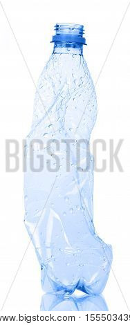 Empty plastic water bottle for recycling isolated on white background.
