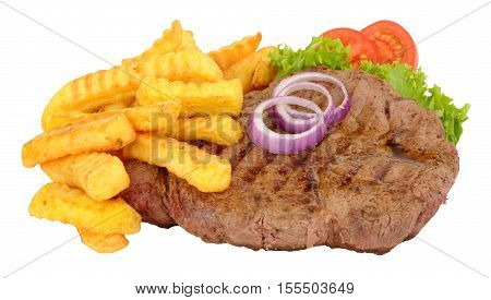 Fried rump beef steak with potato fries meal isolated on a white background