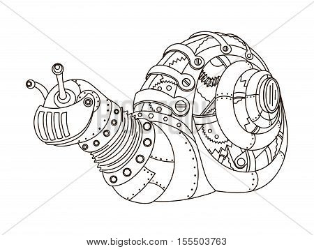 Steampunk style snail. Mechanical animal. Coloring book for adult vector illustration.