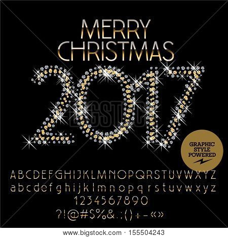 Vector glitter Merry Christmas 2017 greeting card with set of letters, symbols and numbers. File contains graphic styles