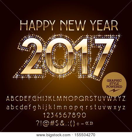 Vector golden glitter Happy New Year 2017 greeting card with set of letters, symbols and numbers. File contains graphic styles