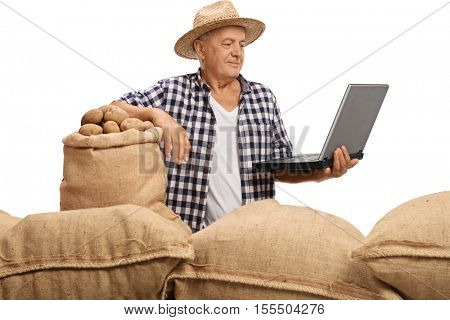 Elderly farmer with burlap sacks filled with potatoes looking at a laptop isolated on white background